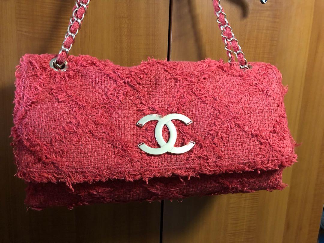 Chanel Red Tweed Maxi Flap Bag 62ac92825f