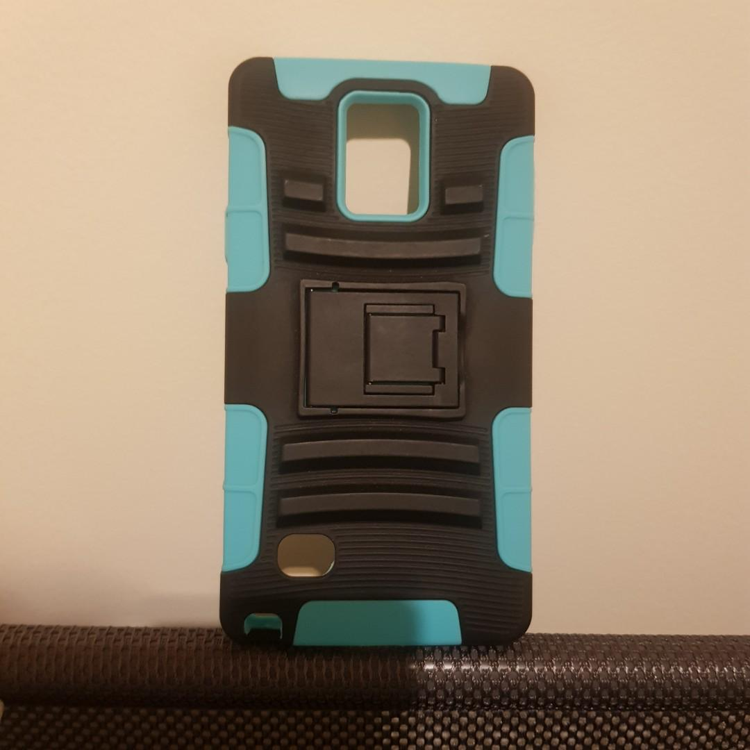Galaxy Note 4 Blue and Black Kickstand Protective Phone Case