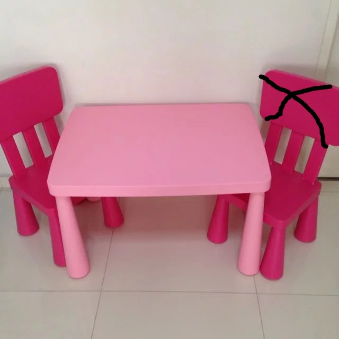Ikea Mammut Kids Table Chair Pink Furniture Tables Chairs On Carou