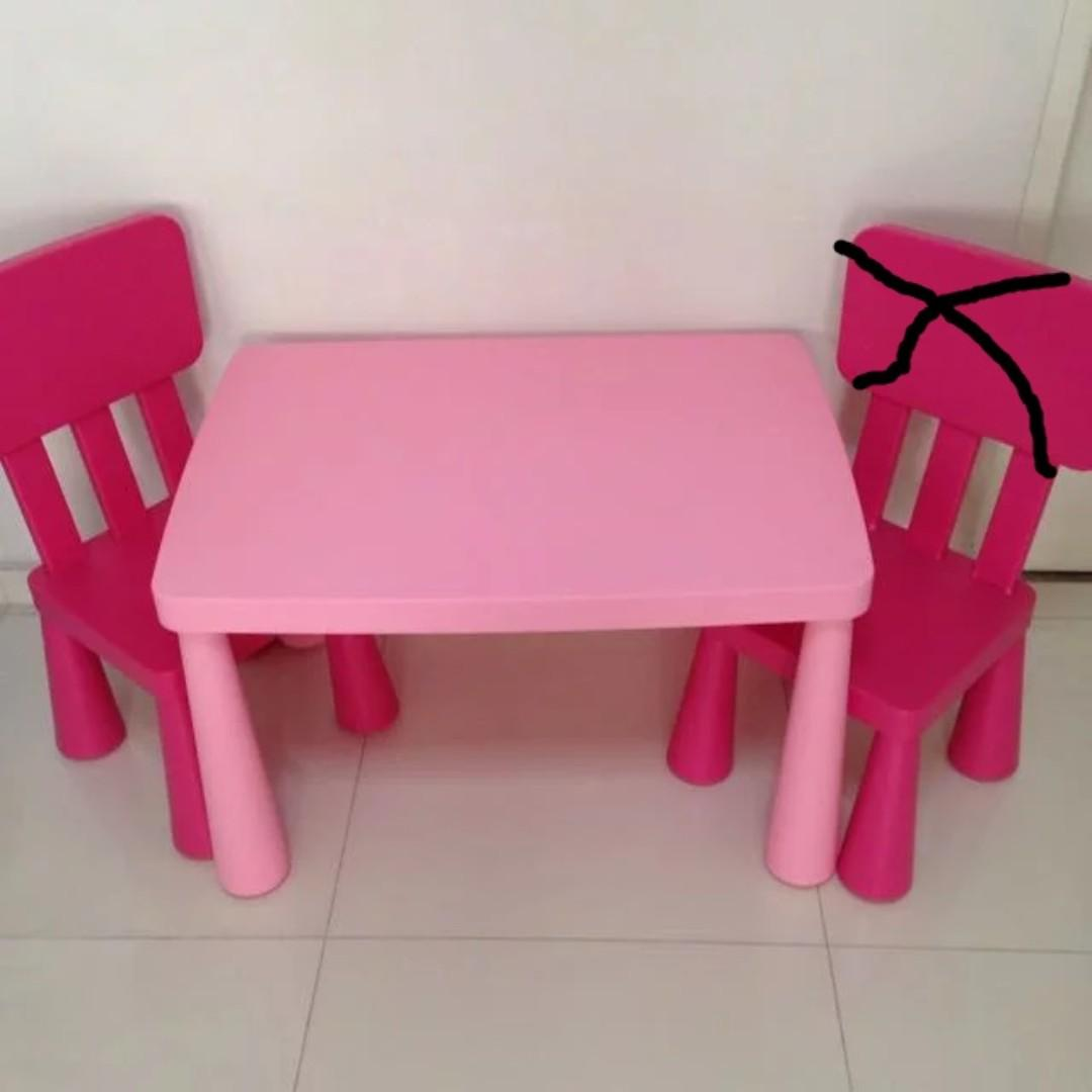 Ikea Mammut Kids Table Chair Pink Furniture Tables