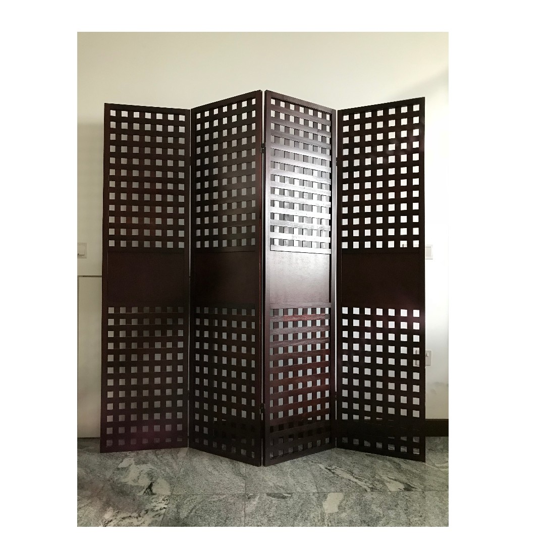 Japanese Room Partition Wood Screens 4 Panels Furniture Home