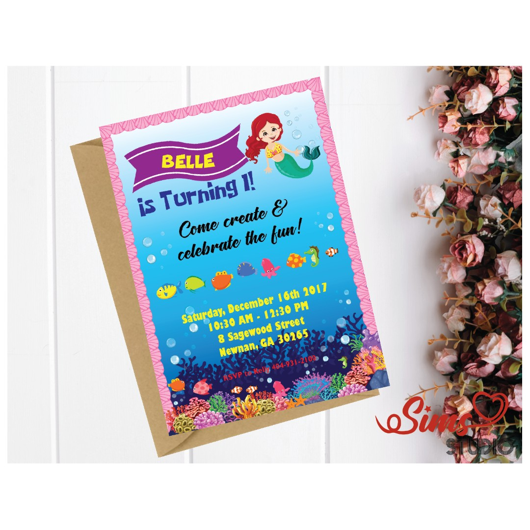Little Mermaid Birthday Invitation Party Printable