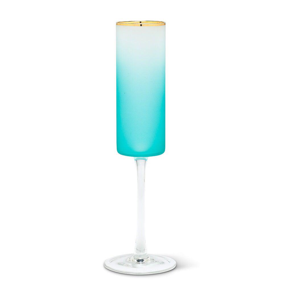 ombred, frosted mouthblown flute glass