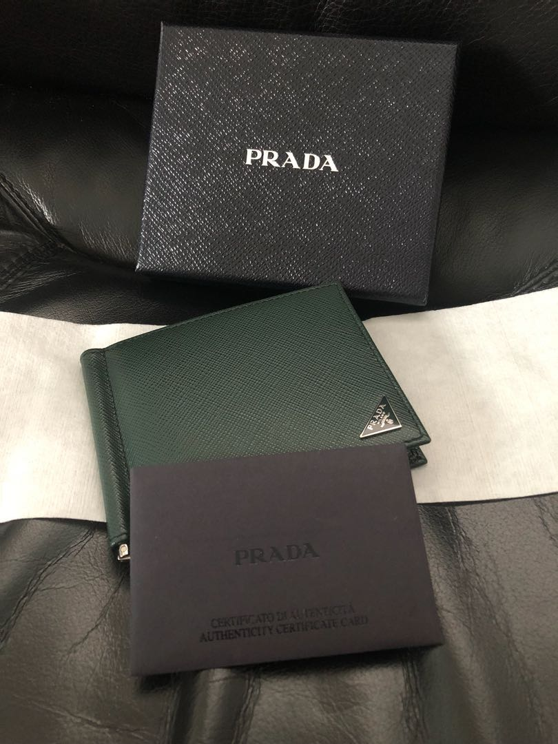 0b38c6688e407a Prada Saffiano Triangle Bifold wallet with money clip, Luxury, Bags &  Wallets, Wallets on Carousell