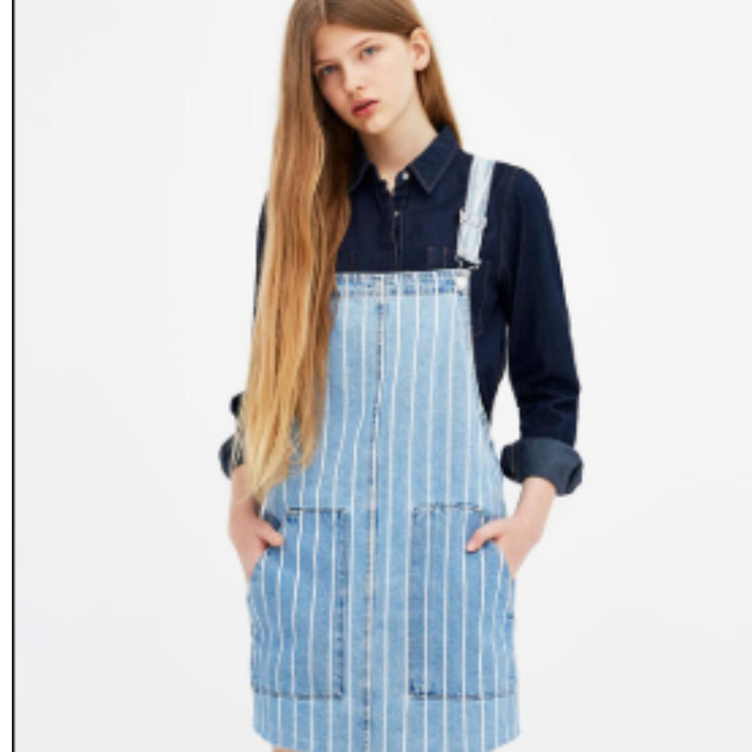 select for official fashionable patterns detailing Pull & Bear Denim Striped Dungaree Dress, Women's Fashion ...