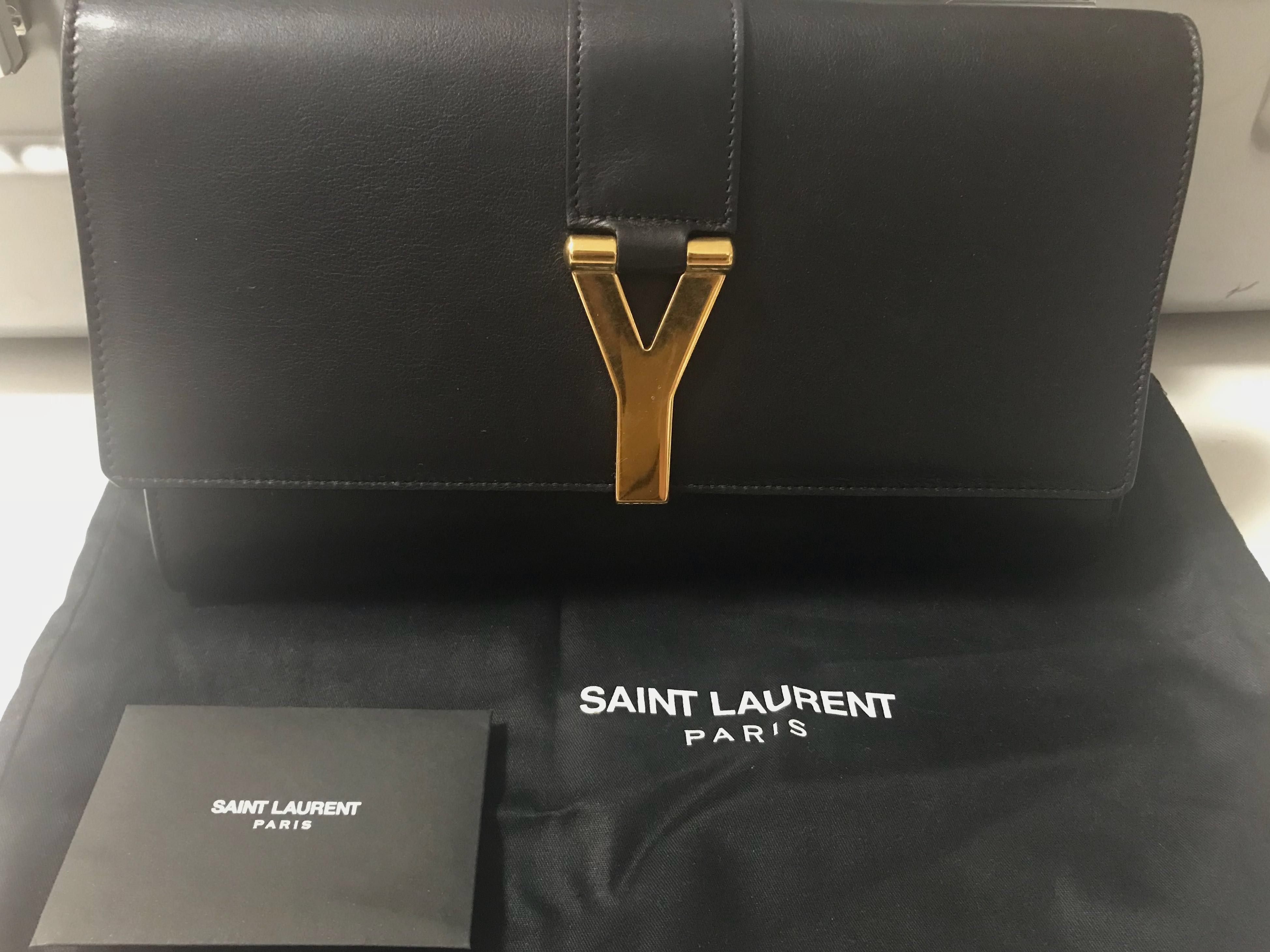 reasonable price search for latest new design 🔥SALE: Saint Laurent YSL Black Leather Clutch Bag w/ Gold Hardware