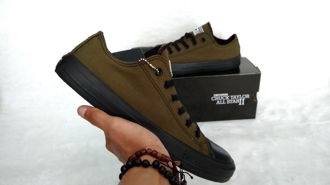 c052f9a05554c4 Sepatu Converse All Star Chuck Taylor II OX Green Army Black Unisex ...