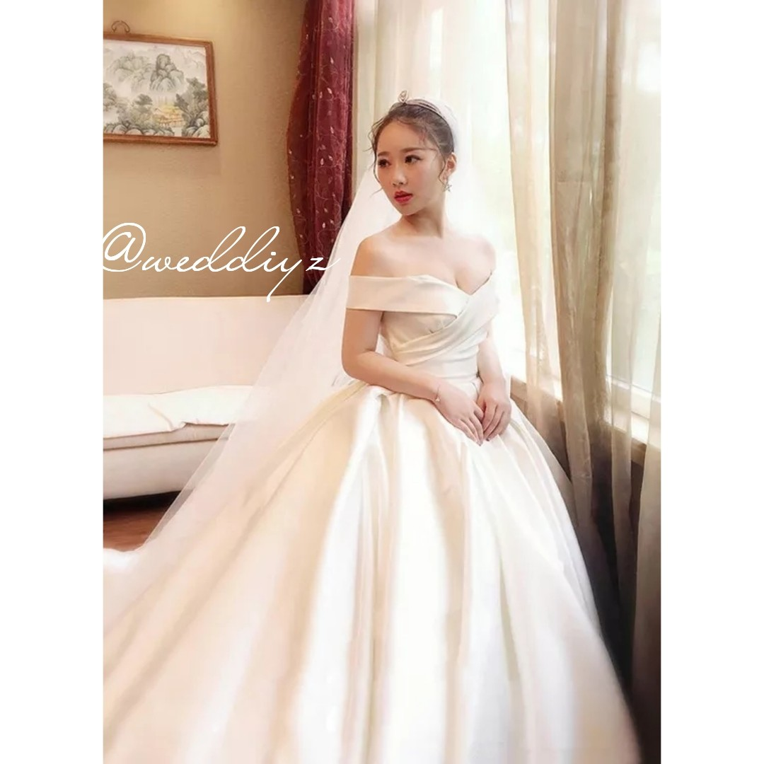 Wedding White Gown Off Shoulder Satin Ball Gown Simple Classy Wedding