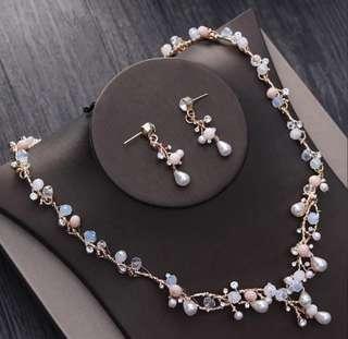 結婚頸鏈耳環套裝