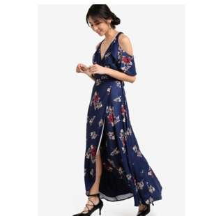 Floral sexy maxi dress with dropped shoulders