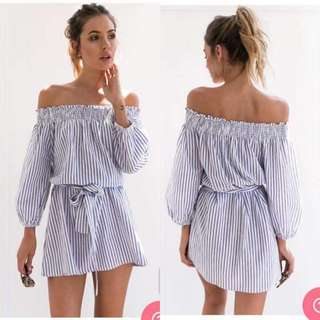 Sleeves Stripes Dress
