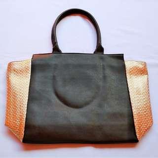 Black Gold / Black Leopard Shopping Tote Bag