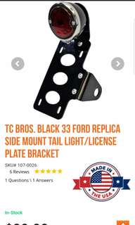 Side mount tail light / brake light with license plate bracket