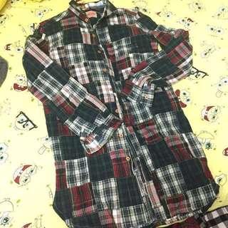 最後減價 $300☃️日本 Cube sugar Patchwork 拼布 格仔 恤衫 OP 長衫 裙 Ne-net X-girl Beams Polo Japan