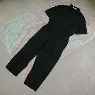 襯衫工作褲造型中性連身褲
