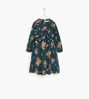 Zara碎花連身長裙