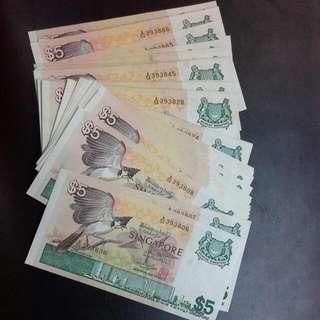 Singapore Bird $5 Running Unc 50 Pieces at $9.50 Each