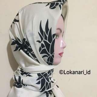 Hijab Segi Empat Pineapple white(PROMO)