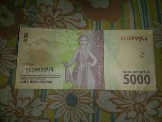 Uang Ori BI dengan nomor seri unik dan langka