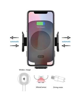 🚚 Automatic Clamping Mobile Phone Car Mount with Fast Wireless Charging
