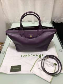 Longchamp Le Pliage Heritage in dark purple