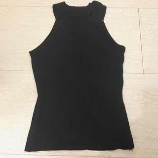 黑色螺紋削肩背心