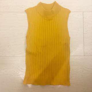 芥末黃螺紋背心
