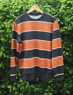 TBJ NEARBY AUTHENTIC STRIPE SWEATSHIRT - BLACK ORANGE