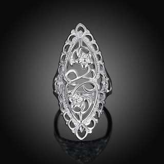 PO Silver Plated Hollow Big Wedding Ring Women Fashion Jewelry Size 6,7,8,9,10 [MJN06]