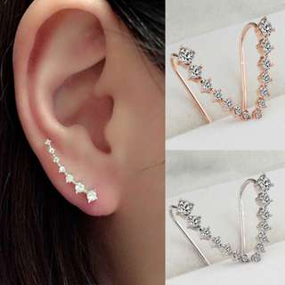 PO Rhinestone Gold/Silver Crystal Earrings Ear Hook Stud [MJN09]