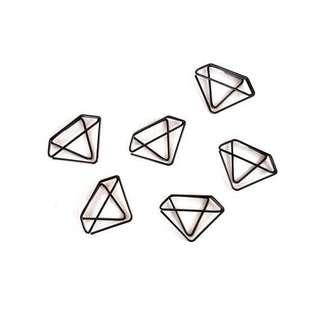 🚚 Set of 6 Black Diamond Paperclips