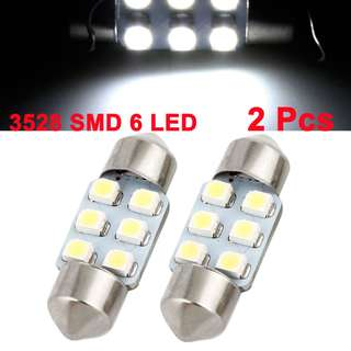 6 LED Festoon Room and Number Plate White Lamp (31 mm) 2pc