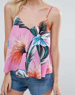 Tropical Summer Floral Sleeveless Top pink casual weekend