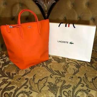 LACOSTE Vertical Tote Bag with 10cm Drop(Orange) w/ zipper