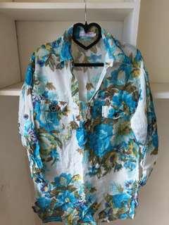 🚚 九成新義大利浪漫風涼夏吸汗快乾七分袖棉麻衫, 袖子可反摺固定,有緣價$299