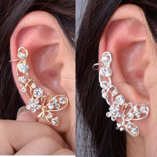 PO Crystal Butterfly and Flower Clip Ear Cuff Stud Earring [MJN15]