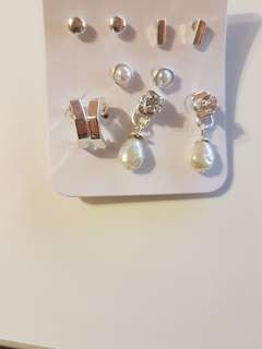 new! set of 5 pair stud earrings