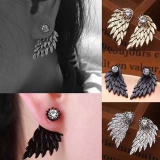 PO Angel Wings with Rhinestone Crystal Ear Stud Earrings [MJN20]