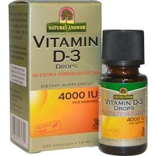 Nature's Answer, Vitamin D-3 Drops, 4000 IU, 0.5 fl oz (15 ml)