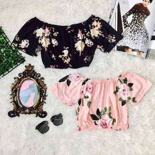 Off shoulder crop top 100 fit small to semi large frame