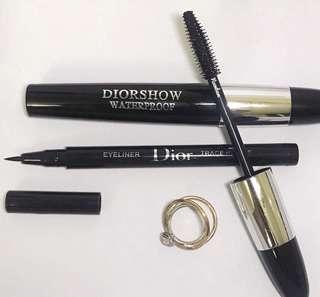 🚚 DiorShow Waterproof Mascara + Super Fine Black Trace Precis Liquid Liner Eyeliner
