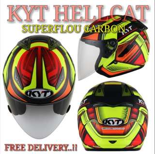 PROMO *PSB APPROVED KYT HELLCAT SUPERFLOU CARBON *PSB APPROVED