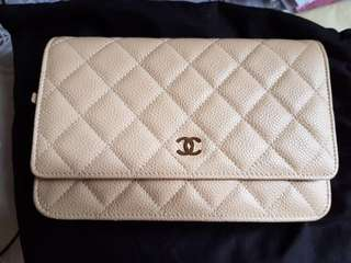 Chanel light pearly beige WOC wallet on chain