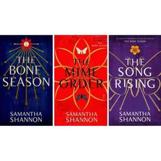 SIGNED instock The Bone Season, The Mime Order & The Song Rising by Samantha Shannon