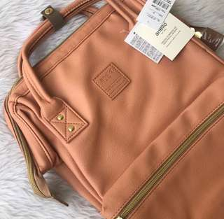 Authentic Anello Leather Backpack in Nude Pink