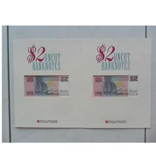 2x Singapore Ship Series 3-in-1 $2 Uncut BankNotes