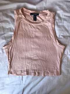 nude pink ribbed halter tank top