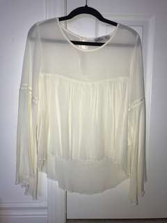 Hollister sheer white flowy long sleeve
