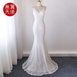 White Fishtail Evening Gown/ Prom Dress (BUY/ RENT)