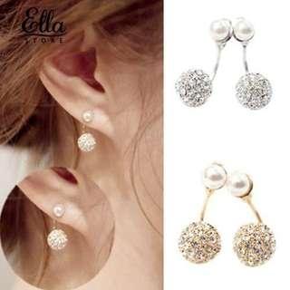 Rhinestone faux pearl front back earings